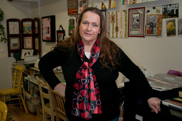 Carol poses in her scrapbooking shop outside Amity, Oregon