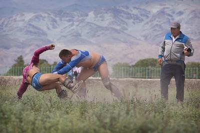 Wrestling at a naadam festival at Tsengal, Mongolia