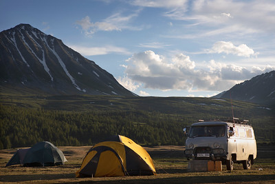 Golden hour over our tents and UAZ, Mongolia