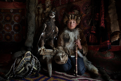 Damel with her eagle, Mongolia