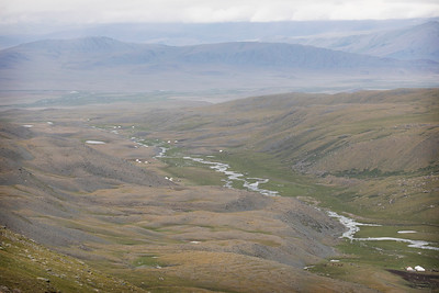 View of Esen's home from a ridge, Mongolia