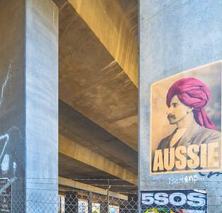 Aussie under the freeway