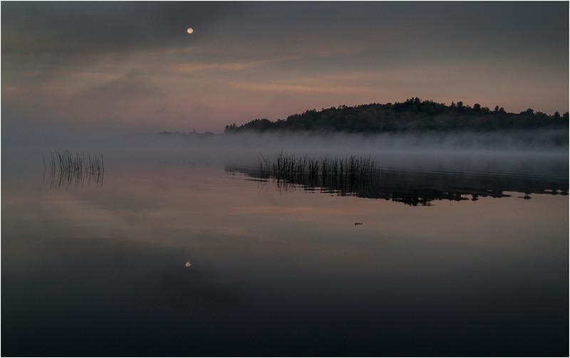 Adirondacks Little Tupper Lake Mist Moon September 2013