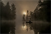 Adirondacks Bog River Mist Sunrise Paddler 4 August 2013