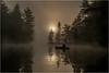 Adirondacks Bog River Mist Sunrise Paddler 4 August 2013