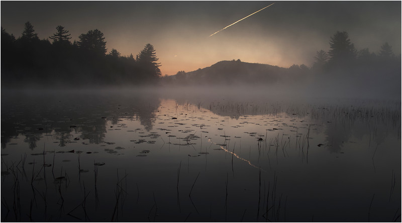 Adirondacks Whitney Wilderness Round Lake Reach Shoreline in Morning Mist 6 October 2011