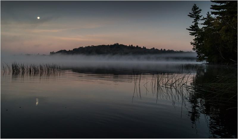 Adirondacks Little Tupper Lake Mist Moon 2 September 2013