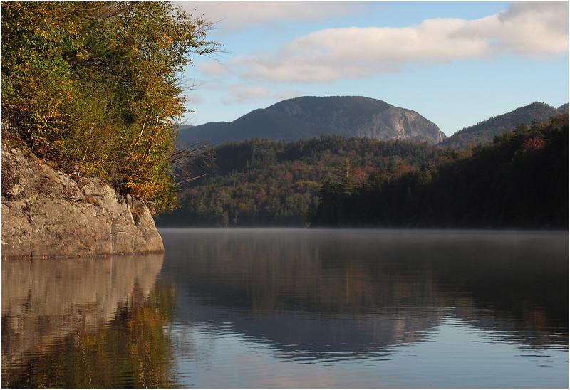 Adirondacks Henderson Lake September 2010 Mist Shore Wall and Wallface Mt After the Burnoff