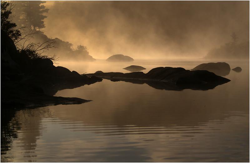 Adirondacks Moose River Recreation Area Squaw Lake Rocks and Deadfall at Sunrise 2 September 2012