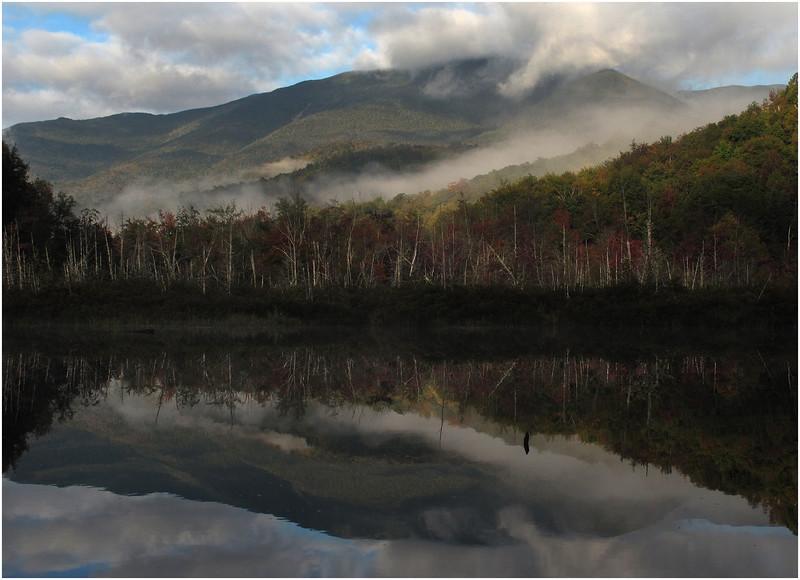 Adirondacks Henderson Lake September 2010 Mist Santanoni Peak with Clouds and Dead Trees