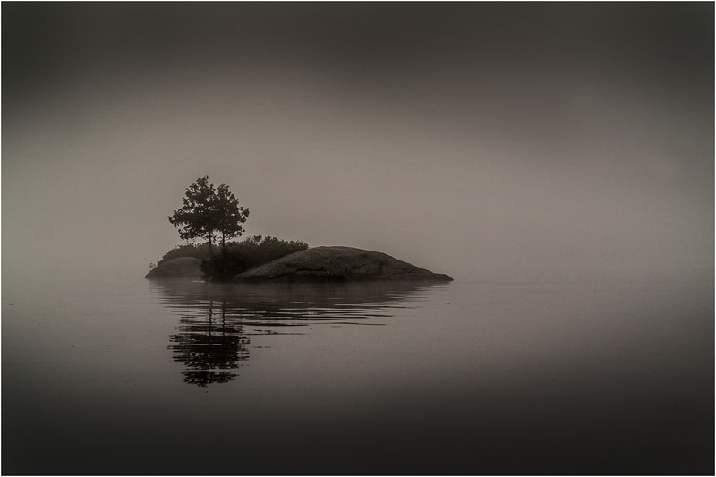 Adirondacks Blue Mountain Lake Island in Mist 2 July 2013