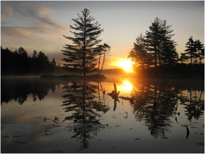 Adirondacks Utowana Lake October 2009 Mist Gateway at Sunrise Horizontal2