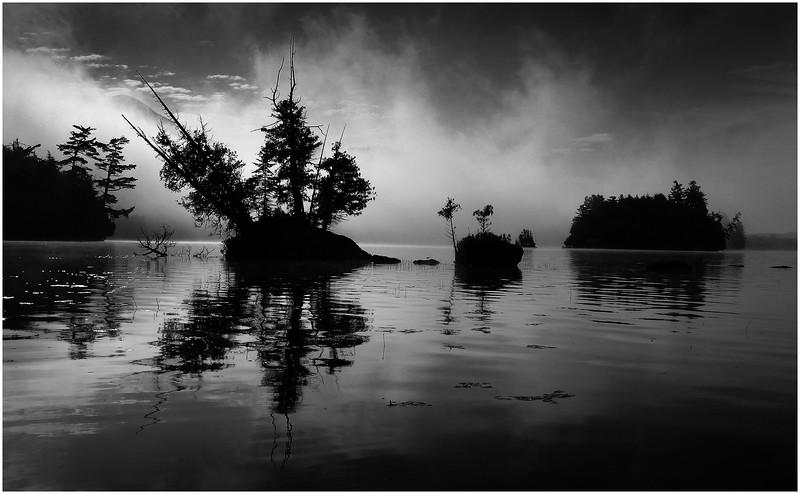 Adirondacks Blue Mountain Lake Mist and Islands