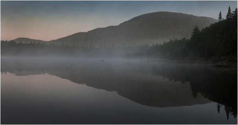 Adirondacks Cedar River Flow Morning MistShoreline and Hills 4 July 2009