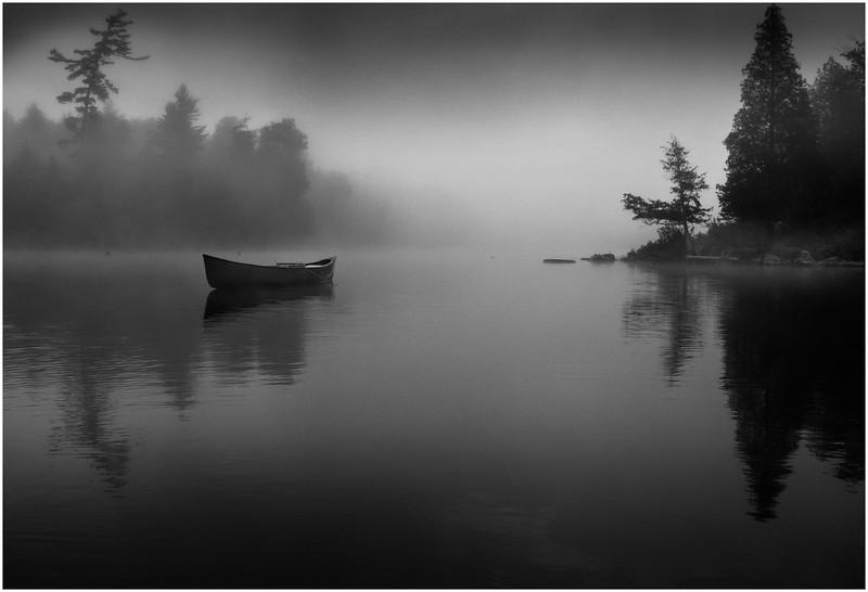 Adirondacks Forked Lake Morning Mist Canoe 2 June 2009