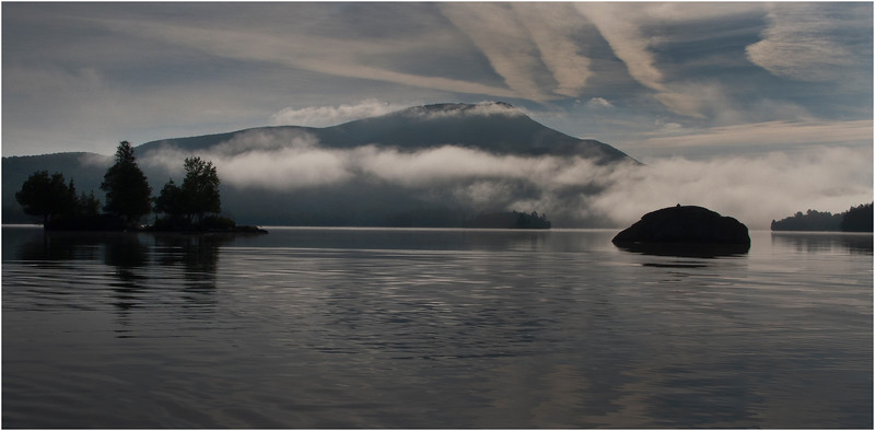 Adirondacks Blue Mountain Lake and Blue Mountain in Lifting Mist2 July 2009