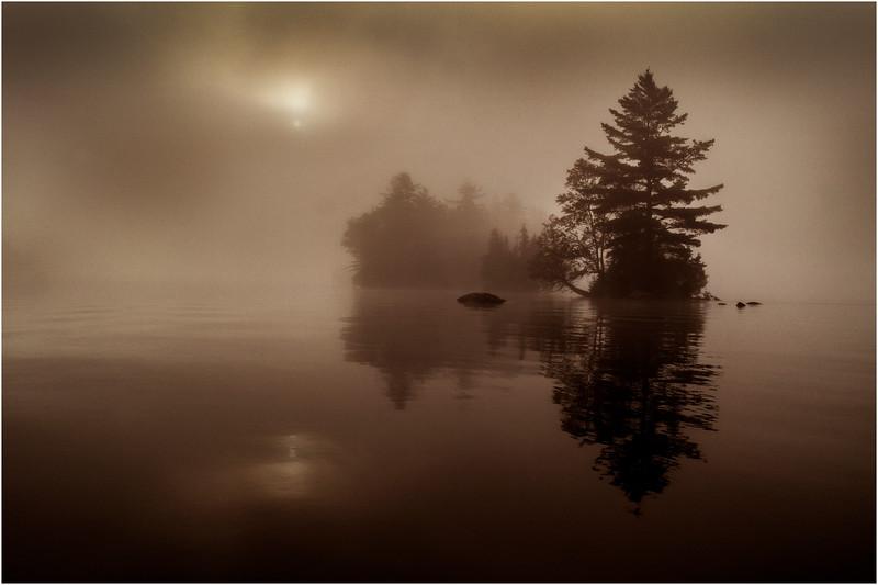 Adirondacks Blue Mountain Lake Sun Rocks and Islands BW 2 July 2013