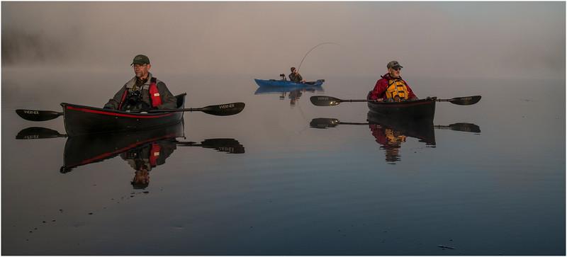 Adirondacks Forked Lake July 2015 Morning Mist Dan Way, Rick Rosen and Fisherman 2