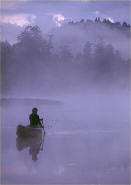 Adirondacks Forked Lake Mist Paddler Bob Goot 1 August 1979