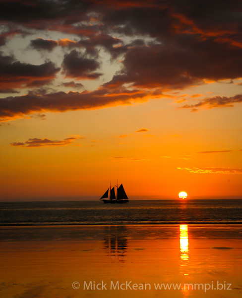 Sailboat in a Broome sunset