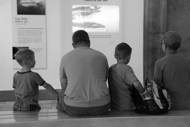 Dad with sons at Monterey Bay Aquarium