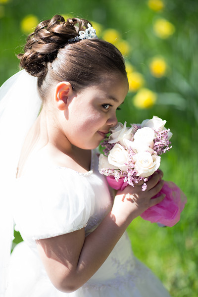 A Girl in Her Communion Gown at the Brooklyn Botanic Garden