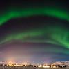 Winterlandschaft in Island unter dem Nordlicht