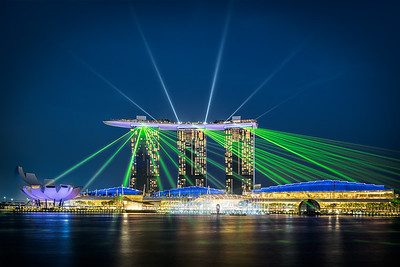 Lasershow and der Marina Bay