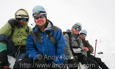 Climbing Mt. Ishinca - the three remaining healthy Chris'es, plus me, at the summit (18,143ft)