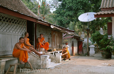Monks With Satellite Dish