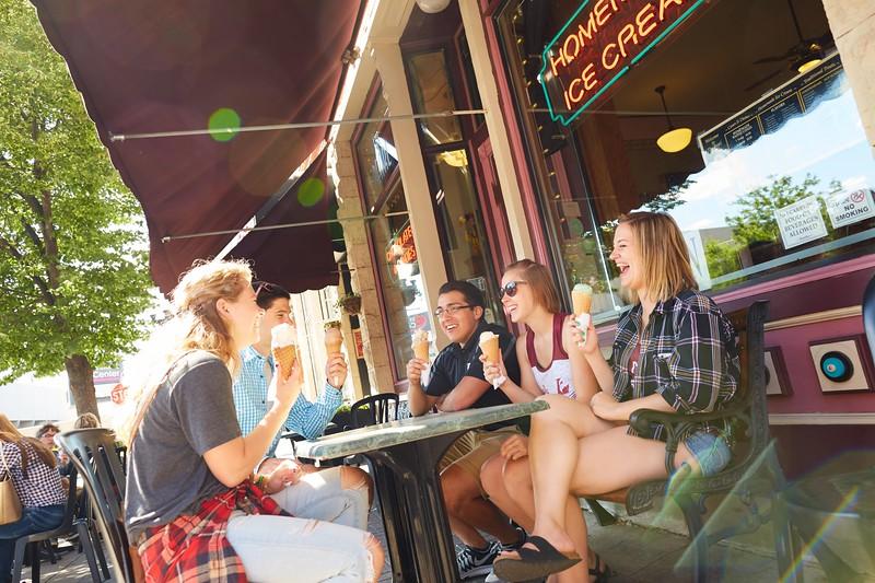 Activity; Socializing; Buildings; Downtown; Location; Outside; People; Woman Women; Man Men; Student Students; Summer; June; Time/Weather; day; Type of Photography; Candid; Lifestyle; UWL UW-L UW-La Crosse University of Wisconsin-La Crosse; Pearl Street; Ice Cream; Diversity