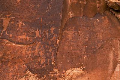 Petroglyphs alongside the Colorado River