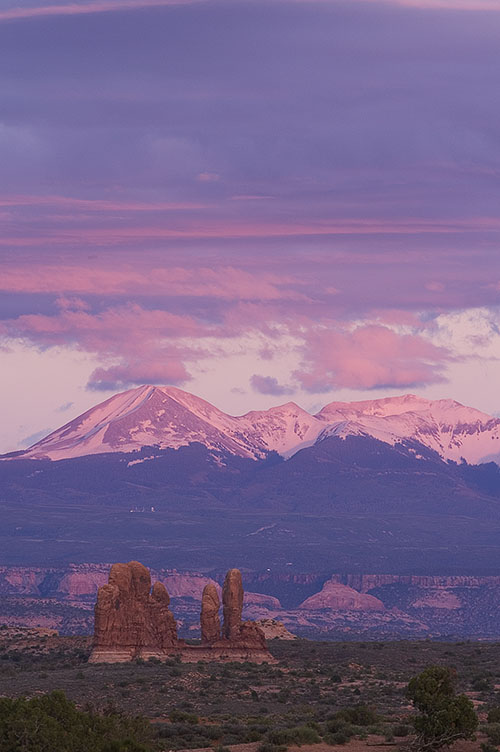 View of the La Sal Mountains near Balanced Rock