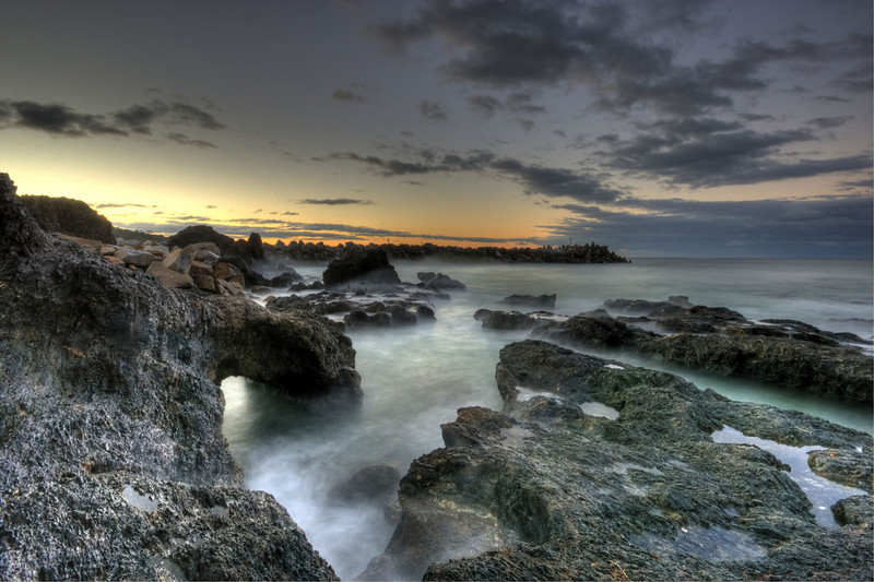 Bar Rock, Narooma, view out to Breakwater - sunset