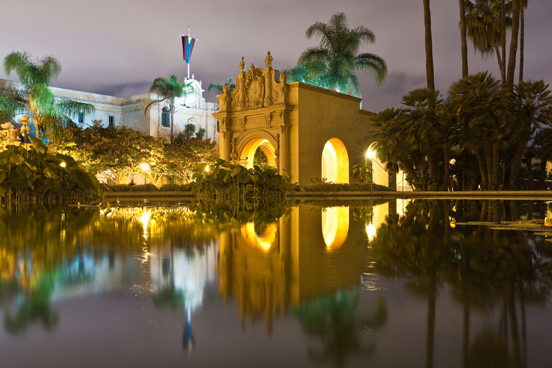 El Parado at night, Balboa Park, San Diego