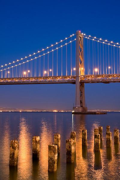 San Francisco-Oakland Bay Bridge and the Bay at late twighlight