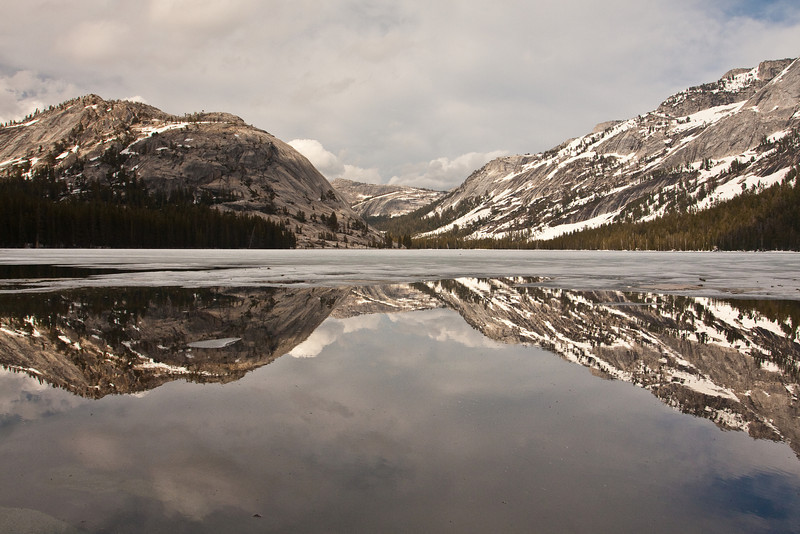 Tenaya Lake reflecting the June Gloom overcast that migrated into the Yosemite High Country