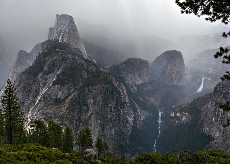 Rain on Half Dome, and Little Yosemite Valley from Washburn Point