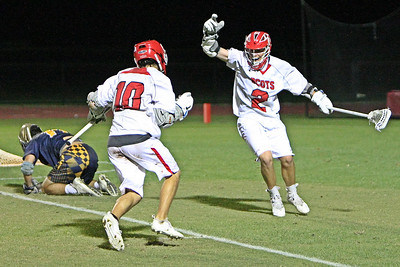 Saint Andrew's Anthony Molle scored the overtime game winner to beat 2 time defending State Champions St. Thomas Aquinas 8-7 in the regional semifinals.  The playoff victory helps the Scots regain their prominence as 1 of the elite High School programs in Florida again.  May 1, 2018, Saint Andrews School, Boca Raton, FL.