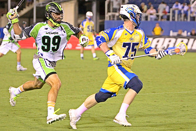 Paul Rabil and his New York Lizards outscored the Florida Launch 6-3 in the 4th quarter en route to a 14-13 come from behind victory on the road.  Rabil will leave the MLL later in 2018 to form the Premier Lacrosse League which will embark on it's inaugural season in 2019.  May 19, 2018, FAU Stadium, Boca Raton, FL