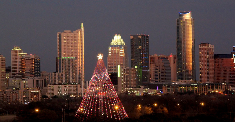 Austin skyline with Zilker Tree