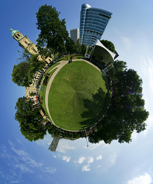 """""""The Circled Square""""  Cathedral Square Park, Milwaukee, WI, August 11, 2007, at about 4 PM.  Composition of images taken with Sigma 12-24 mm lens at 12 mm and Canon EOS-1D II."""