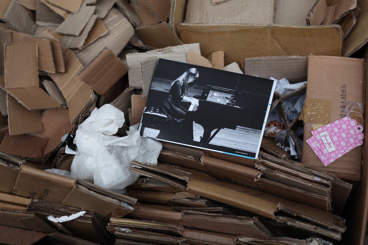 Week 30 - Piano Player.  Wlaking around Stein am Rhein this week I saw a load of cardboard stacked for recycling and I caught a flash of black and white so went to investigate, here is what I found and exatly as I found it.