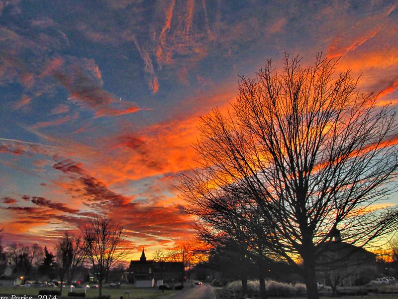 11-25-14: riding into Bridgewater at sunset.