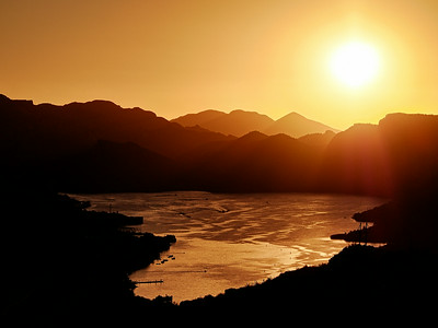Sunset over Canyon Lake Tonto National Forest