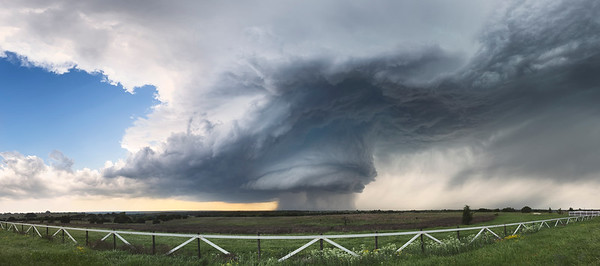Panoramic Supercell - Hico, Texas - 4-27-15