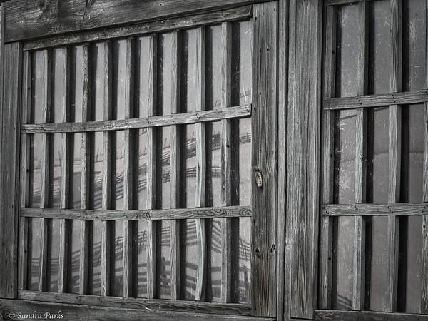 3-2-15: reflections in a barn window, Silver Creek
