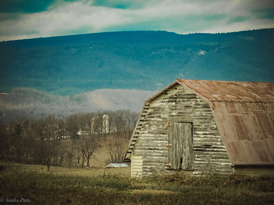 2-3-19: Old barn, and Alleghenies.