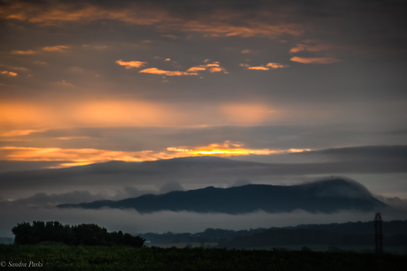 8-28-19: Mountains and clouds, at sunrise