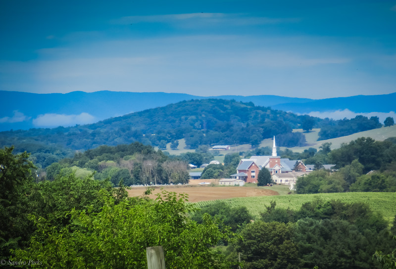 7-23-2020: Mill Creek Church and the Alleghenies with some low clouds